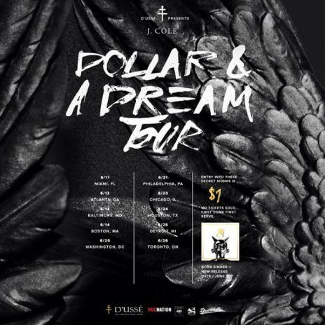 """J. Cole Announces """"Dollar & A Dream"""" Tour"""