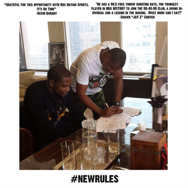 Jay-Z Signs Kevin Durant to Roc Nation Sports
