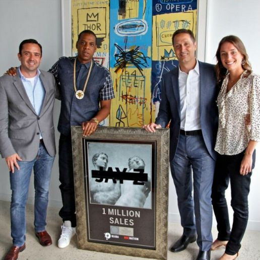 Jay-Z Receives Platinum Plaque for 'Magna Carta...Holy Grail', Stops by HOT 97 to Talk with Angie Martinez