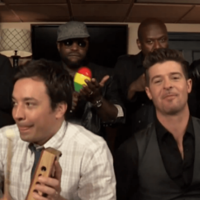 "Robin Thicke, The Roots & Jimmy Fallon Perform ""Blurred Lines"" on Fallon"