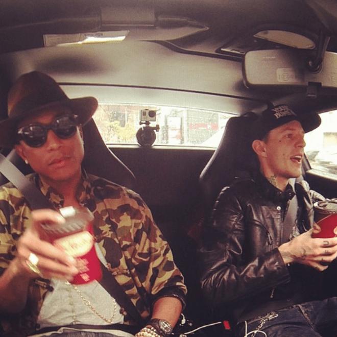 Pharrell Grabs Coffee with deadmau5 in His Ferrari 458