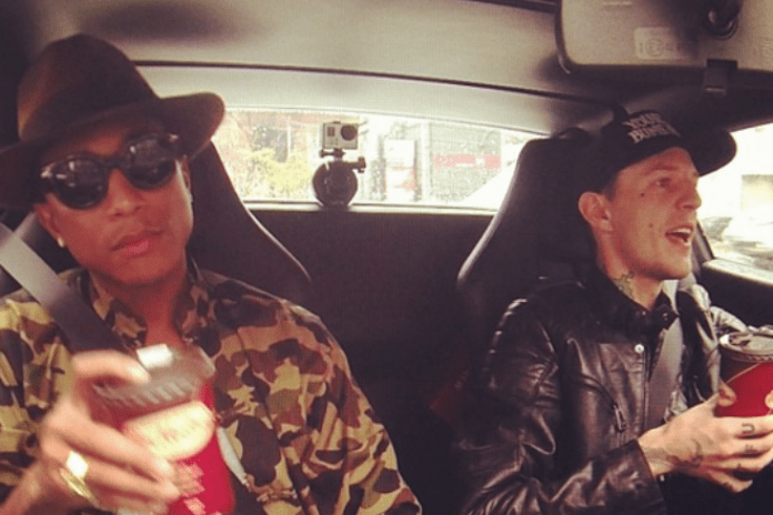 Pharrell Grabs Coffee with deadmau5 in His Ferrari 458