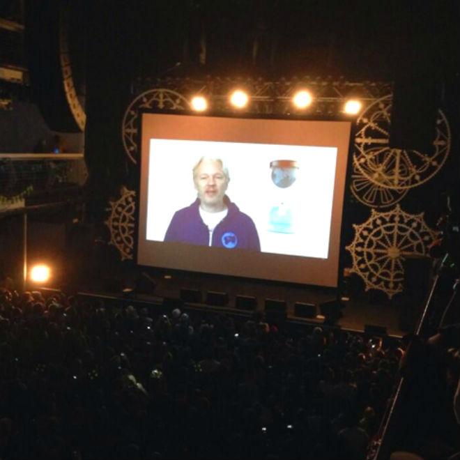 Julian Assange Opens for M.I.A. in New York via Skype