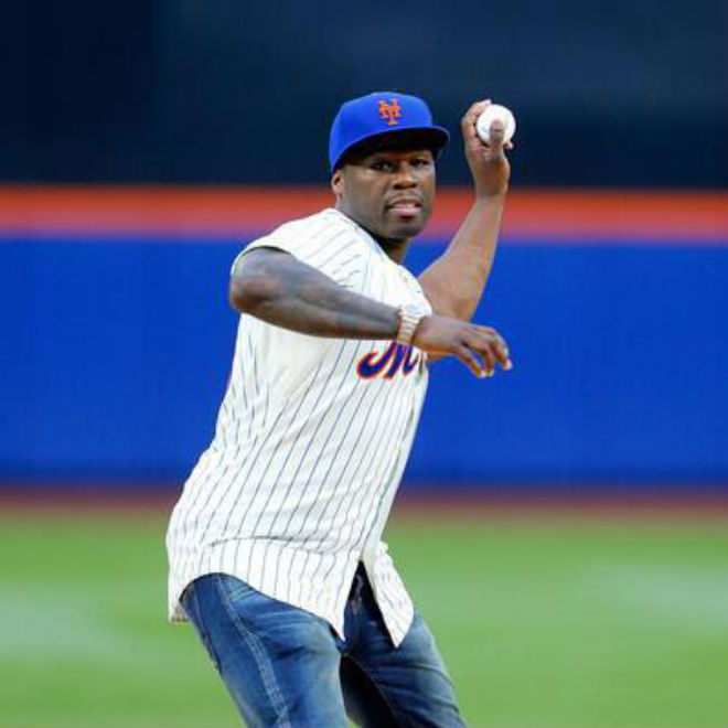 Watch 50 Cent Throw A Terrible First Pitch at New York Mets Game