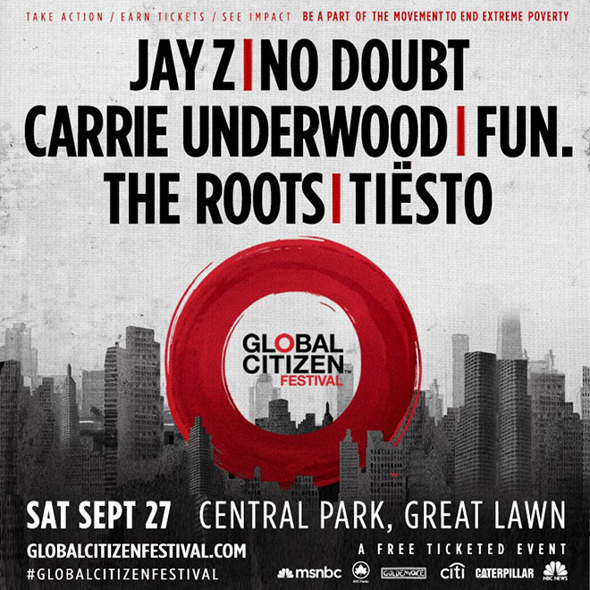 Jay Z & No Doubt Announced as Headliners for NYC's Global Citizen Festival