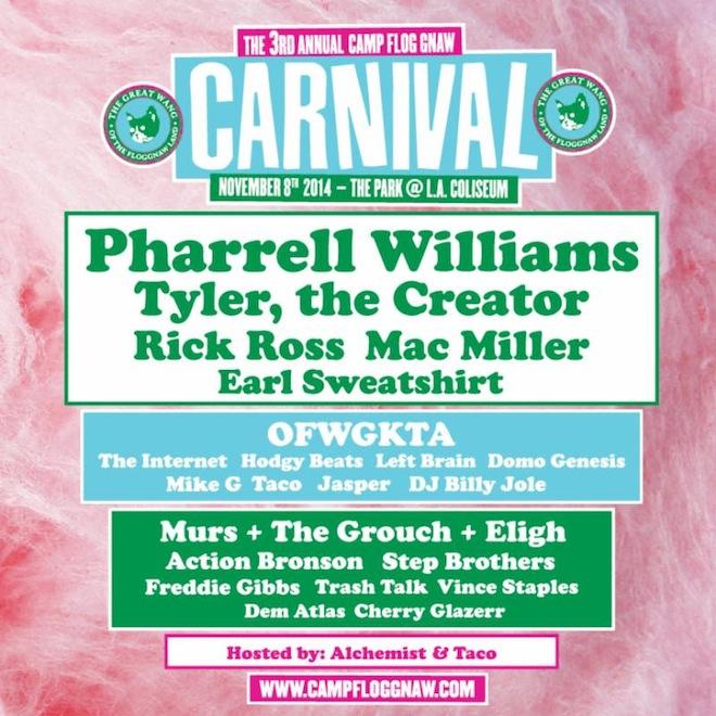 "Pharrell, Rick Ross, Tyler, & More to Headline Odd Future's Third Annual ""Camp Flog Gnaw"" Carnival"