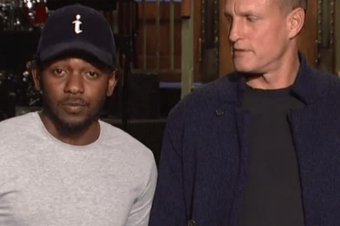 Watch Woody Harrelson Give Kendrick Lamar a Piggyback in SNL Promo