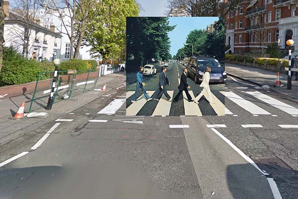 classic album covers paired with original locations on google street view