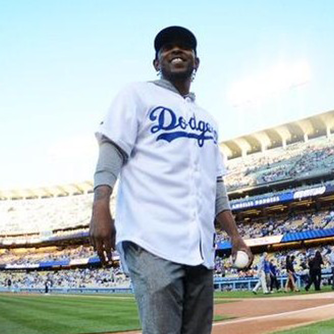Watch Kendrick Lamar Throw Opening Pitch at Dodger Stadium