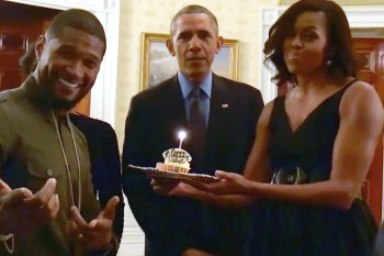 """Watch Barack and Michelle Obama Sing """"Happy Birthday"""" to Usher"""
