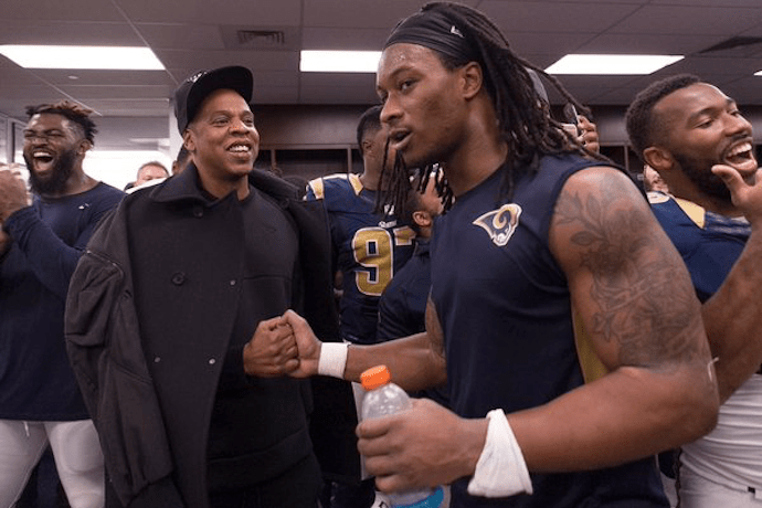 Jay Z Appears in The St. Louis Rams' Locker Room After Their Big Win