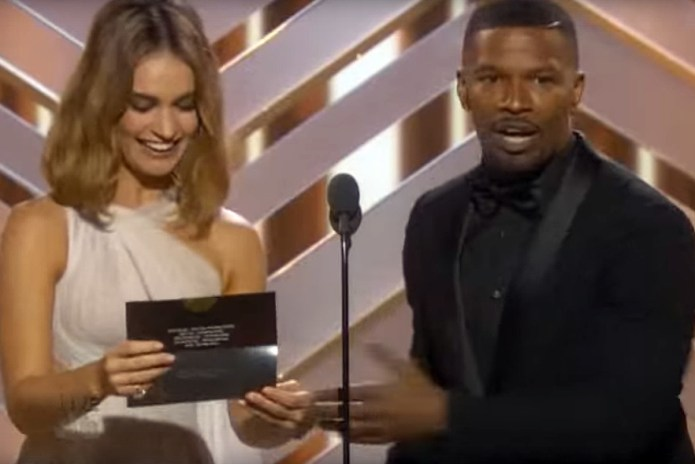 Jamie Foxx Parodies Steve Harvey at Golden Globes