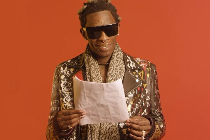 "Young Thug Reads ""Best Friend"" Lyrics"