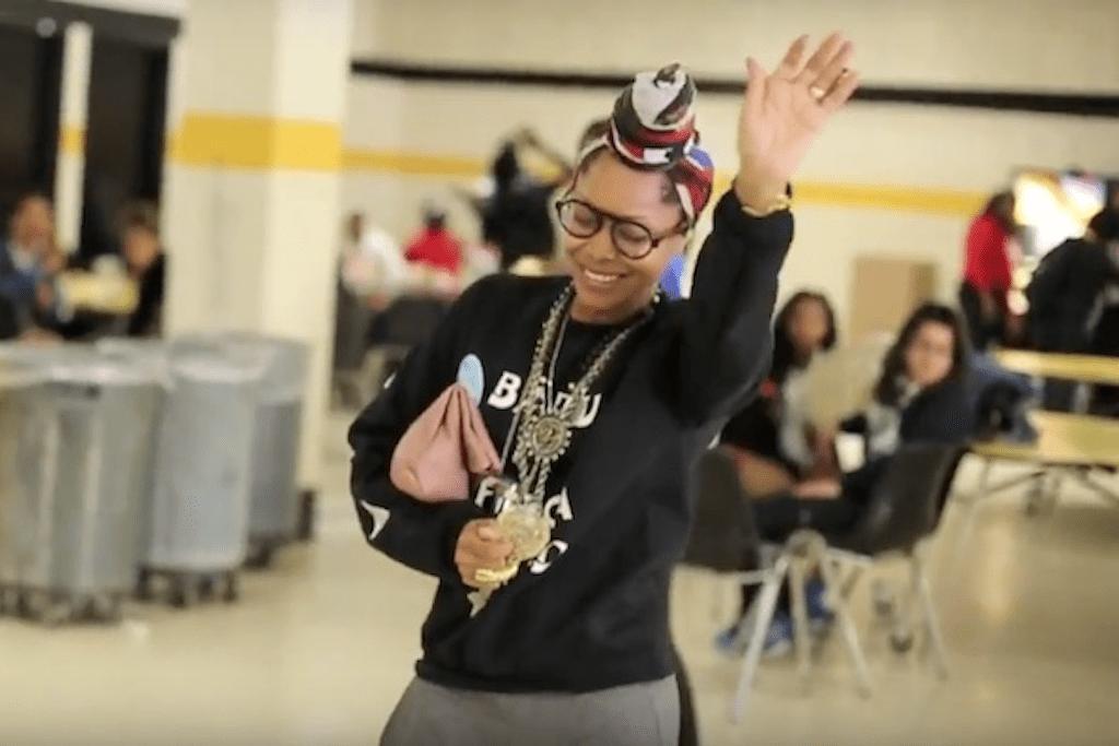 Erykah Badu Surprises Students at a Newark, New Jersey High School