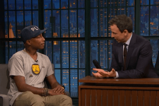 """Pharrell Speaks With Seth Meyers on Being """"The Nice Guy"""" on The Voice"""
