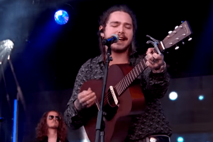 "Post Malone Offers Acoustic Version of His ""Go Flex"" Single on 'Jimmy Kimmel Live'"