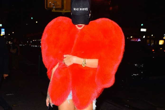 Rihanna Steps Out in an Oversized Heart-Shaped Saint Laurent Cape