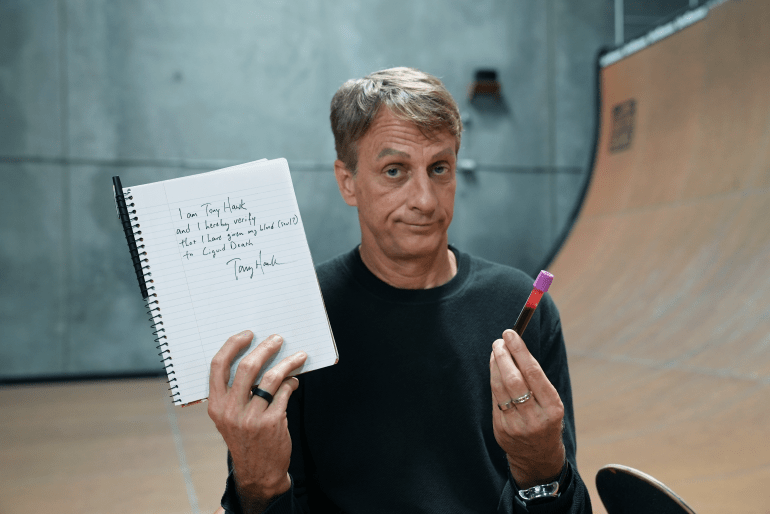Liquid Death Releases Decks Infused With Tony Hawk's Blood