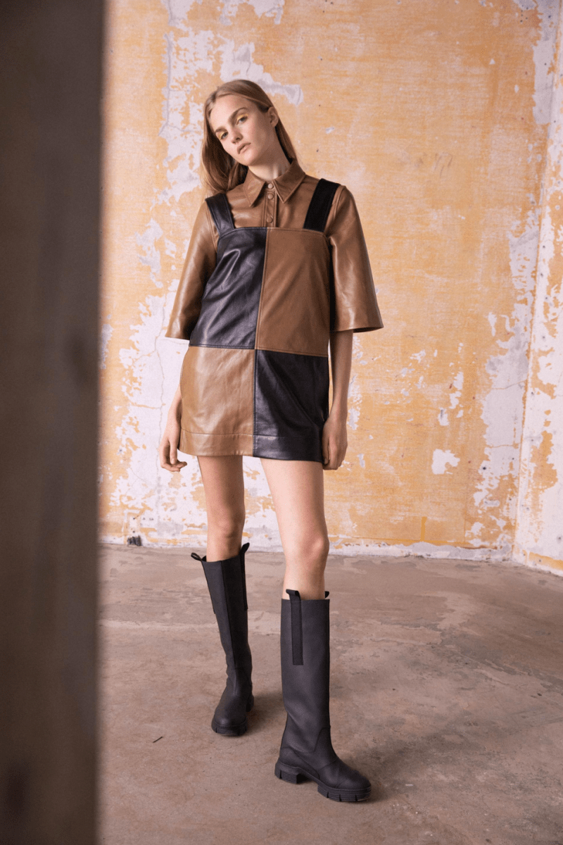 GANNI Pre-Fall 2020 Collection Lookbook Leather Dress Patchwork Shirt Brown