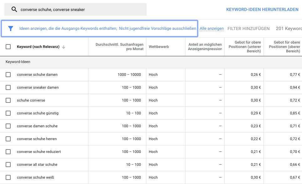 Filter mit Ausgangs-Keywords im Keyword-Planer