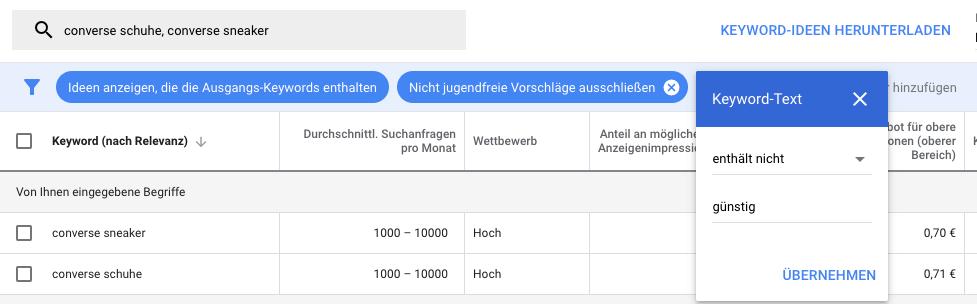 Filter nach Keyword-Text im Keyword-Planer
