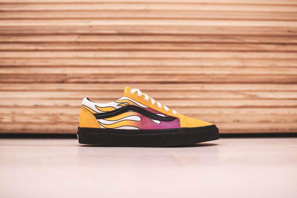 Vans 'Flame' Classics [SneakPeak] vans black yellow neon slip on 3