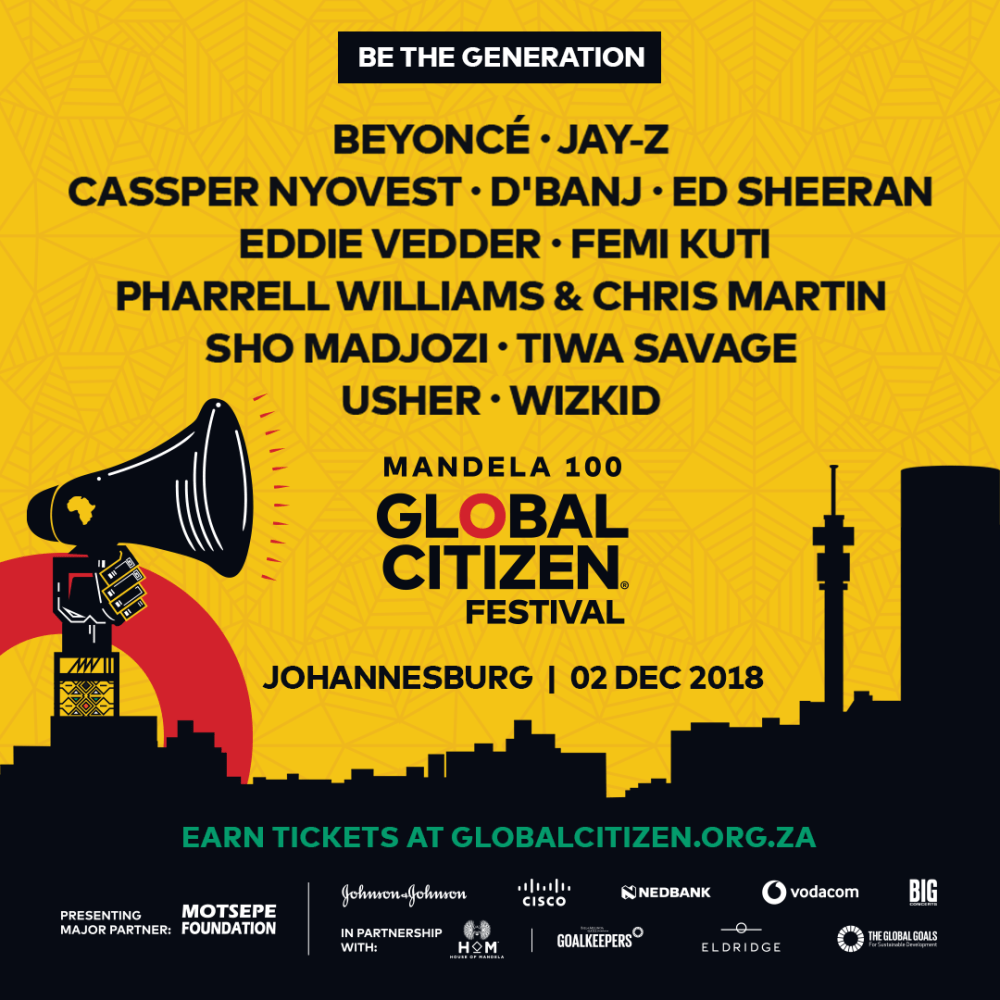 Global Citizen – EP 1Ft. Cassper Nyovest, Pharrell Williams, Stormzy, Wizkid & More Dropping This Sunday Instagram Yellow