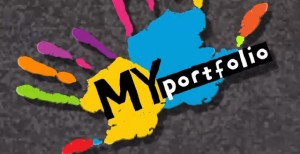 Colored handprints on ground with words 'My Portfolio'