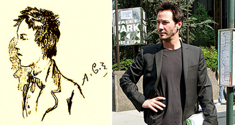 Left, Sketch of Arthur Rimbaud by Frédéric-Auguste Cazals, 1871; Right, Keanu Reeves looks both ways before he crosses the street.