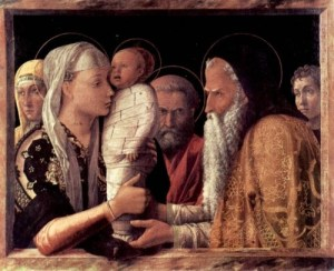 """Andrea Mantegna's Presentation at the Temple (ca. 1460) comes with the caption: """"Oh fuck oh fuck, thank god you're here, Angry Santa! I don't want to be a mummy!"""""""