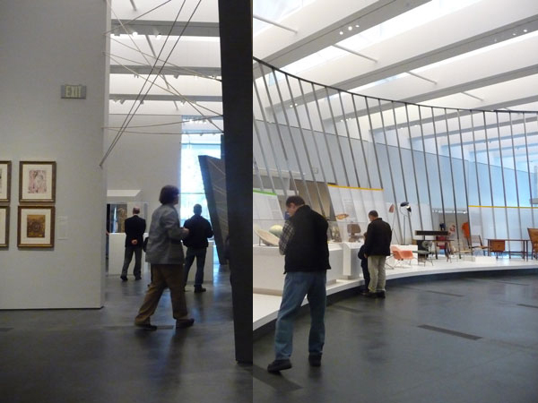A mash-up of the installation views of In Wonderland (left) and California Design (right), both on view at LACMA's Resnick Pavilion.