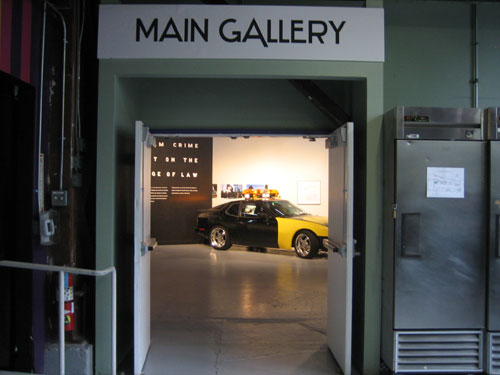 "SOMArts' main gallery entrance and Corbett Griffith's ""Mediator"". (photo by author)"