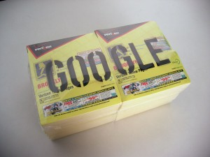 Mandiberg's broad practice as an artist includes Google, which features a laser cut of GOOGLE etched into phone books.