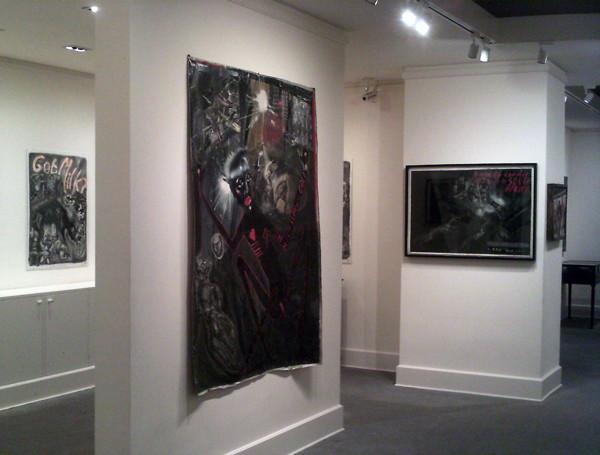 Installation view of Sue Coe exhibition