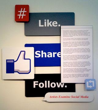 """The entrance to the exhibition """"Like. Share. Follow."""""""