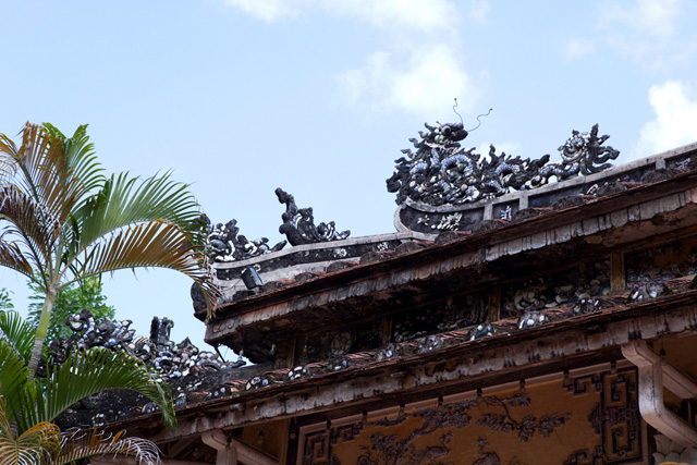 The roof of Dieu De National Pagoda in Hue