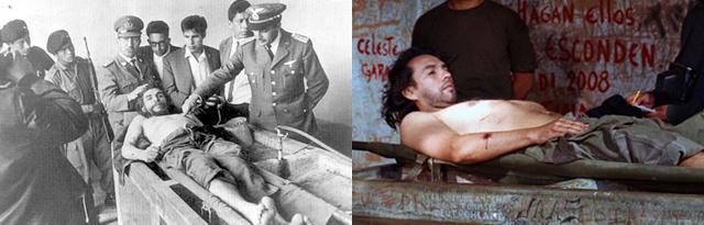 "Left: Freddy Alberto's photo of Che Guevara's body (image via Wikipedia); right: Claudia Joskowicz, ""Vallegrande, 1967"" (2008), detail of video still"
