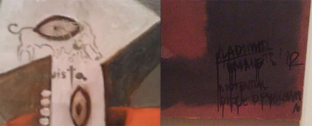The vandalized Picasso on left, and the vandalized Rothko on the right.