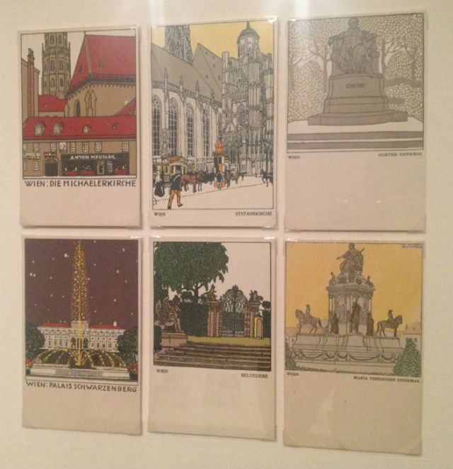 Postcards by Urban Janke, top left, top center, and bottom left
