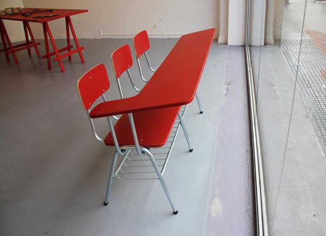 "Camila Ramirez, ""Communitary Chair"" (2012), modified school chair"