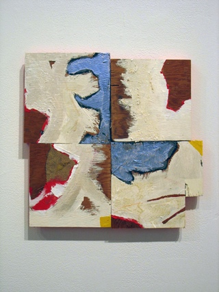 """Cordy Ryman, """"Chop and Spin"""" (2010). Acrylic and enamel on wood. (All images by the author for Hyperallergic.)"""
