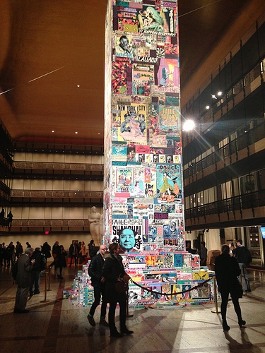 A view of the central column in Les Ballets de Faile (photo by the author for Hyperallergic)
