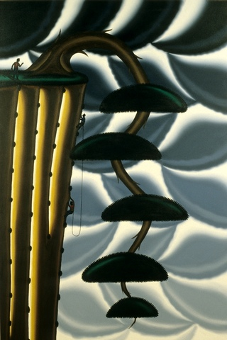 Roger Brown, Bonsai #2: Climbing With the Cascade (Kengai), 1997. Oil on canvas, 72 x 48 inches.
