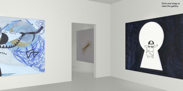"""Screen shot of a gallery in Dot Dash 3, of the """"Animate Me"""" group show"""