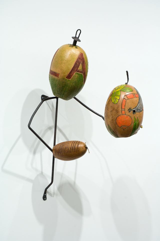 "Rafael Ferrera, ""Lam,""  (1996)  Steel, calabash, oil, wax  42 x 21 x 45 inches (Images Courtesy of Adam Baumgold Gallery)"