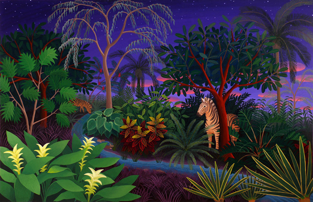 """Amy Lincoln, """"Jungle with Zebras"""" (2012), acrylic on panel, 24 x 37 inches"""
