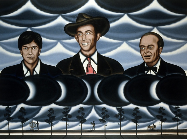 Roger Brown, Self Portrait in Alabama with Hank Williams and Truman Capote, 1988. Oil on canvas, 54 x 72 inches.