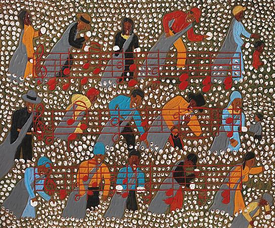 """Winfred Rembert, """"Amazing Grace"""" (2008), dye on carved and tooled leather, 30 1/4 x 36 1/2 in (image via Adelson Galleries)"""