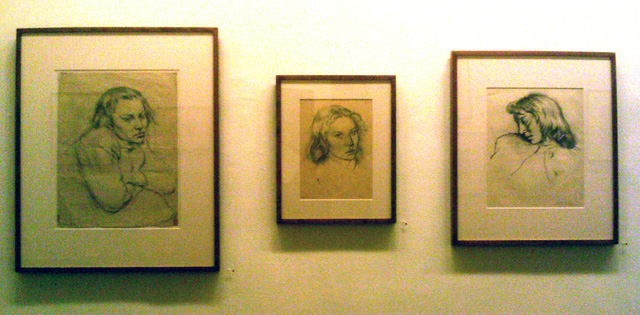 """Leo Steinberg, """"Untitled, 'Oxford 1940/Deirdre'"""" (1940), graphite on paper, 19 1/2 x 14 5/8 inches; """"Untitled, '41 Deirdre'"""" (1941), graphite on paper, 12 7/8 x 9 1/4 inches; """"Untitled, 'Deirdre Oxford 1940"""" (1940), conté on paper, 16 1/4 x 12 7/8 inches (all photos by the author for Hyperallergic)"""