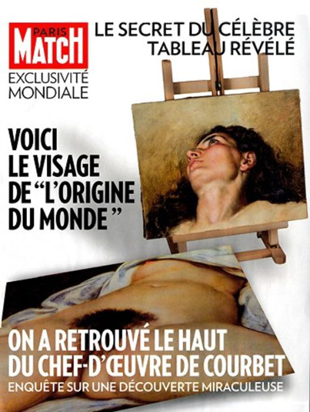 The unveiling of the new Courbet portrait in Paris Match (Image via liberation.fr)
